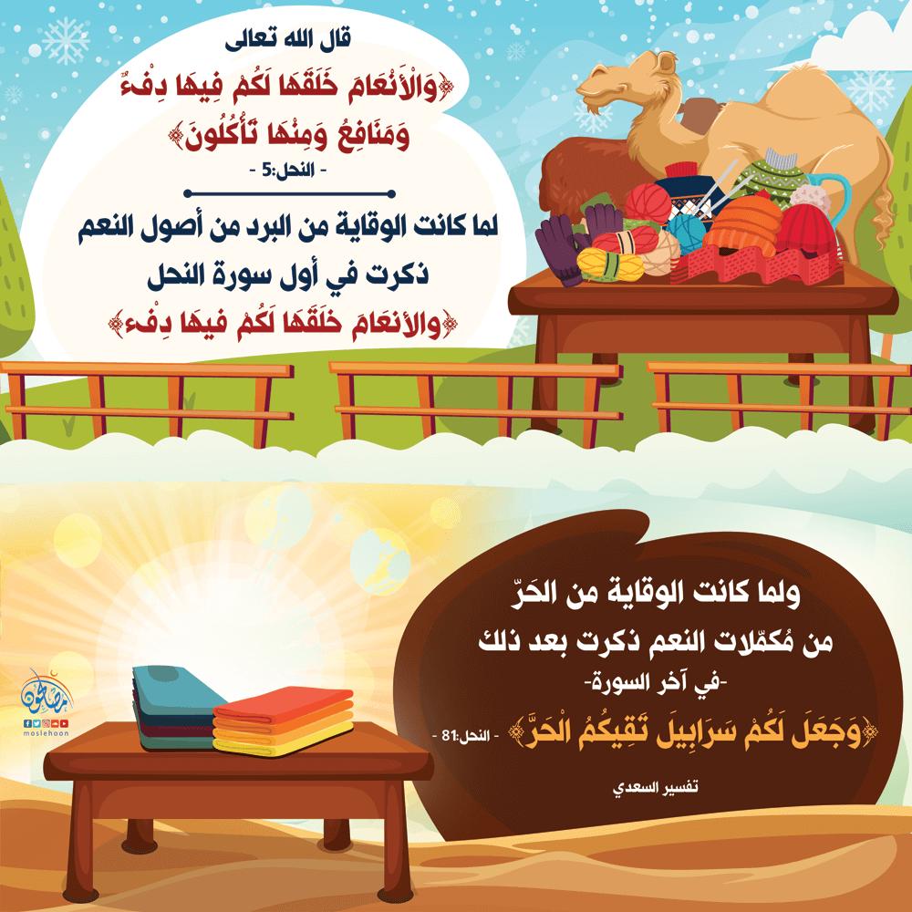 معنى لطيف في ذِكر الوقاية من البرد والحر في القرآن