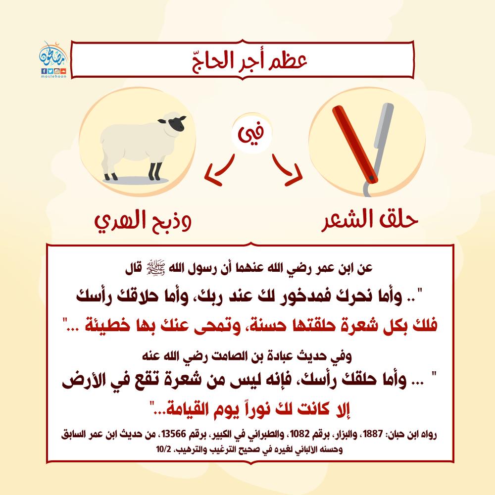 عظم أجر الحاج في حلق الشعر وذبح الهدي